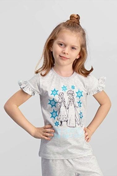 Frozen Karlar Ülkesi Elsa - Frozen Lisanslı Açık Gri Kız Çocuk T-Shirt Gri